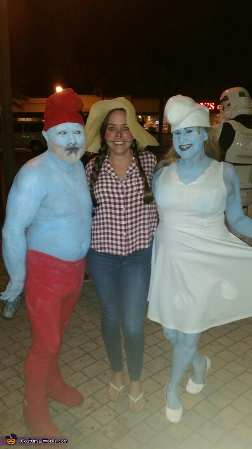 People even want there picture with us, Papa Smurf & Smurfette Costume