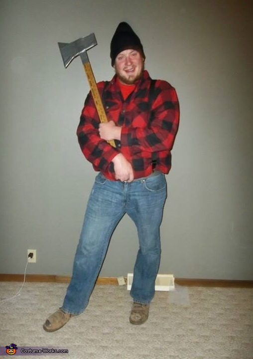 Showing off his home made axe, Paul Bunyan and his Babe the Blue Ox Costume