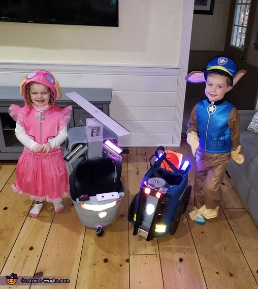 Chase & Skye - next to vehicles, Paw Patrol Chase & Skye Costume