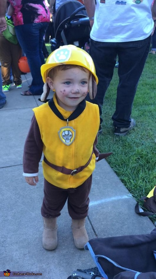 Kade as Rubble the construction bulldog, Paw Patrol Family Costume