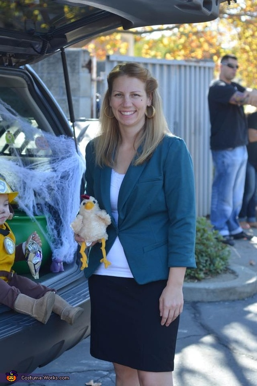 Myself as Mayor Goodway with her cherised pet chicken Chickaletta, Paw Patrol Family Costume