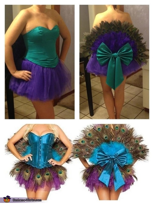 Top two photos are the finished costume, bottom two are the inspiration. , Peacock Costume