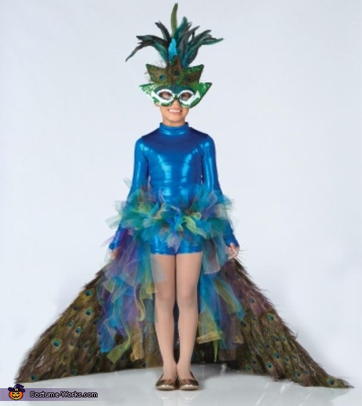 front view with tail down, Peacock Costume