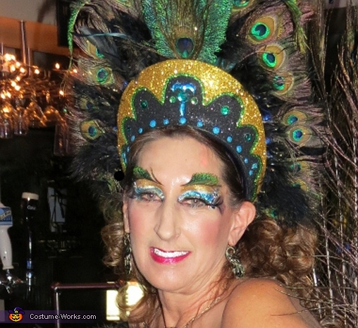 Peacock Showgirl  - Headdress, Feather Eyebrows, and make-up., Peacock Showgirl Costume