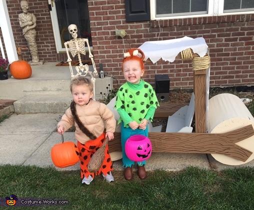 Pebbles and Bam Bam Homemade Costume