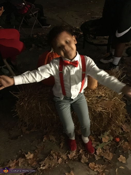 A little blurry but we went to a Halloween and he posed again, Pee Wee Herman Costume