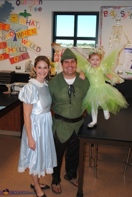 peter pan wendy and tinkerbell family costume