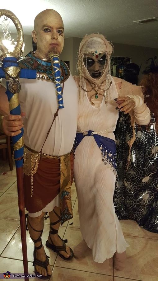 Pharaoh and Mummified Egyptian Priestess Costume