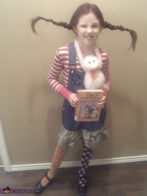 Pippy with the book it was based off of..., Pippi Longstocking Costume