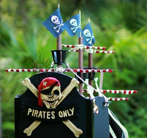 Homemade, custom built Jolly Roger Wagon Pirate Ship., Jolly Roger Wagon Pirate Ship Costume