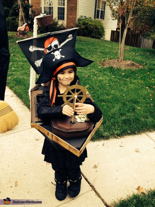 He says he is Captain Smollet from Treasure Island, Pirate and his Ship Costume