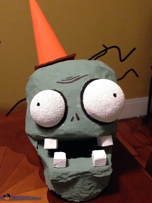 Mask up close, Plants vs Zombies Conehead Zombie Costume
