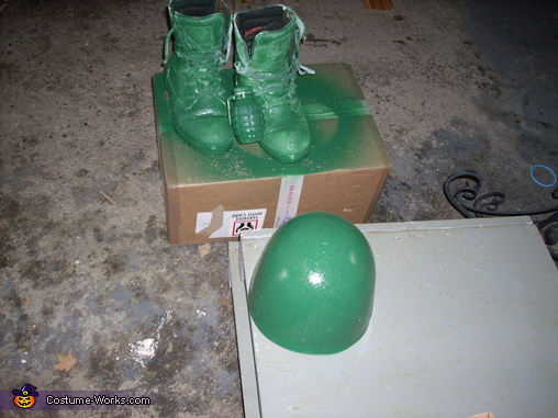 Painting of the helmet, Plastic Green Army Man Costume