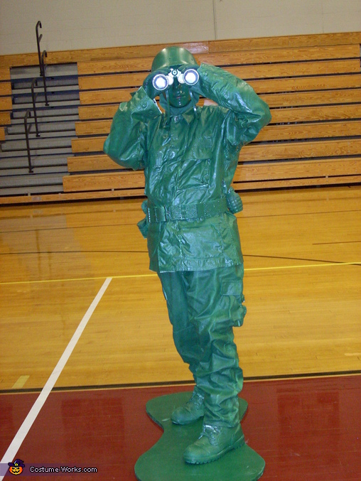 Standing pose with binoculars, Plastic Green Army Man Costume