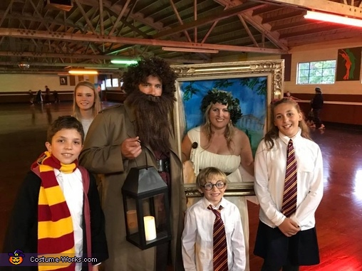 Harry, Ron, Hermione, Hagrid, the Password Lady and our muggle., Platform 9 3/4 Costume