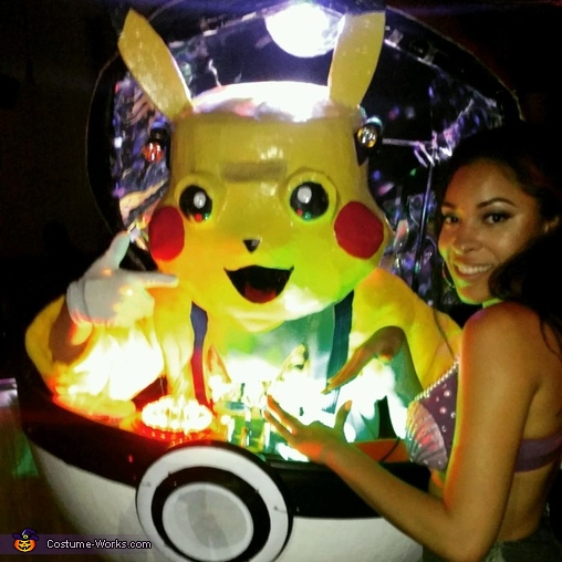Action shot of DJ Pikachu with an admirier!, Pokemon DJ Pikachu Costume