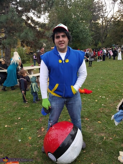 Ash with a retractable pokeball, Pokemon Go Family Costume