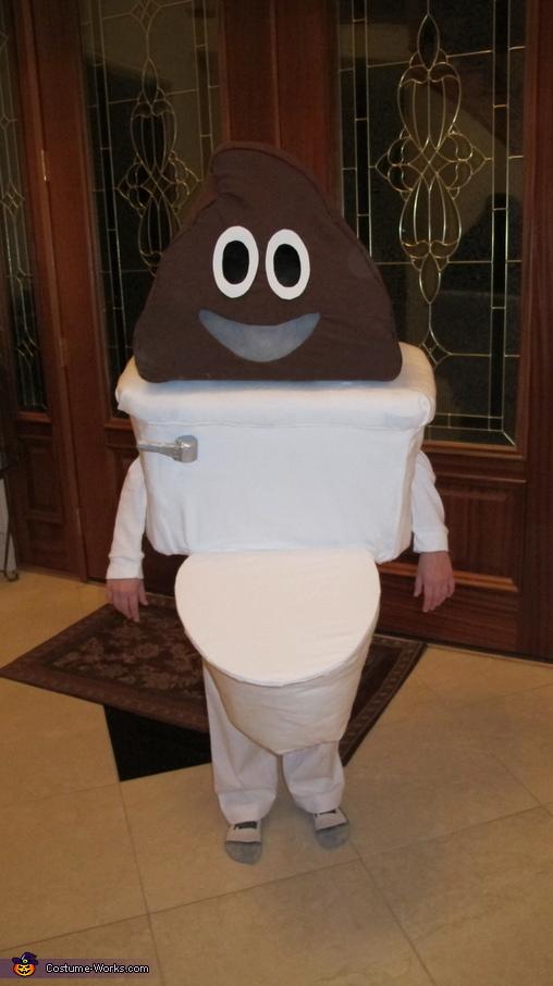 Poop Emoji with Toilet Homemade Costume