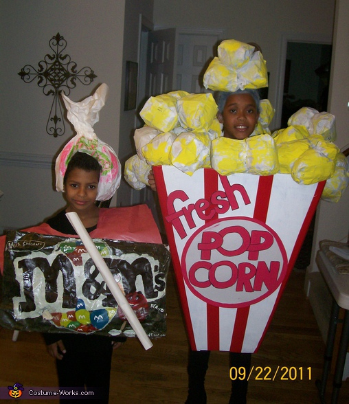 Popcorn and M&M's - Homemade costumes for kids