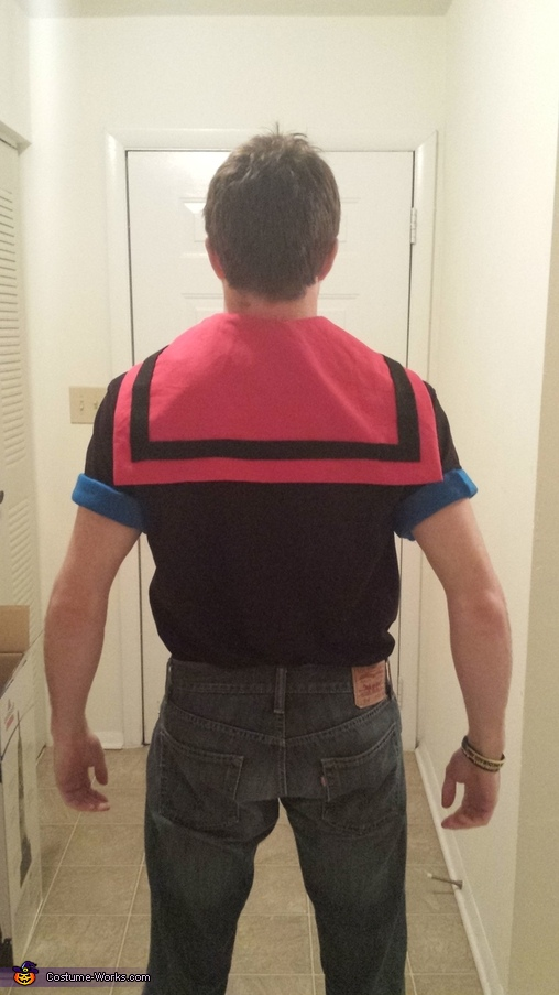 His collar! (Sewed like a pilow case, but with two triangles on the end.), Popeye and Olive Oyl Costume
