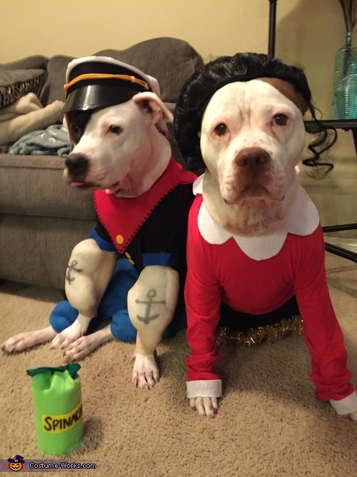Ready for some spinach treats, Popeye and Olive Oyl Dog Costume