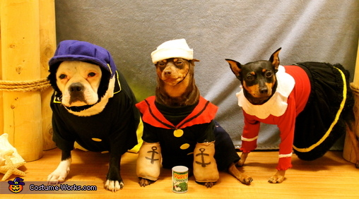 Popeye, Olive Oyl and Brutus Dog Costumes