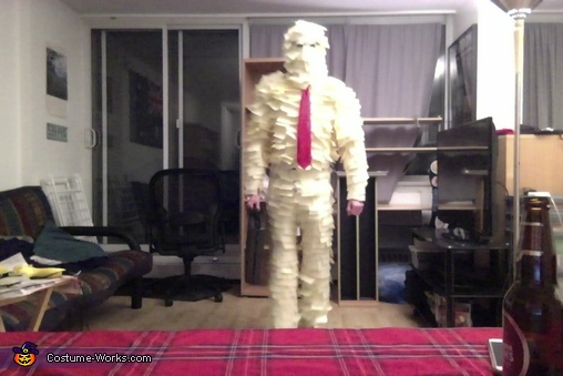 Before heading out, Post-It Man Costume