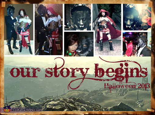 A collage of our favorite costume pics taken out of our new story book :), Post Apocalyptic Red Riding Hood and The Wolf Costume