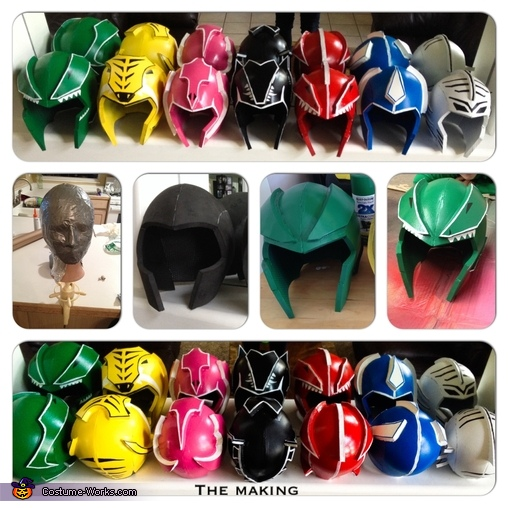 The helmet making, DIY Power Ranger Costumes for the Whole Family!