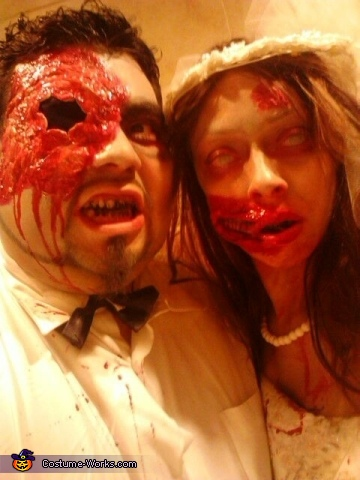 Pregnant Zombie Bride and Groom Couple Costume
