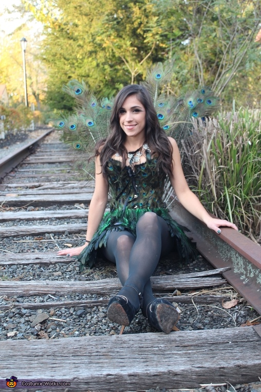 sitting on the tracks, Pretty Peacock Costume