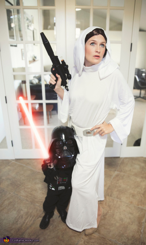 Princess Leia And Little Darth Vader Costume Easy Diy Costumes