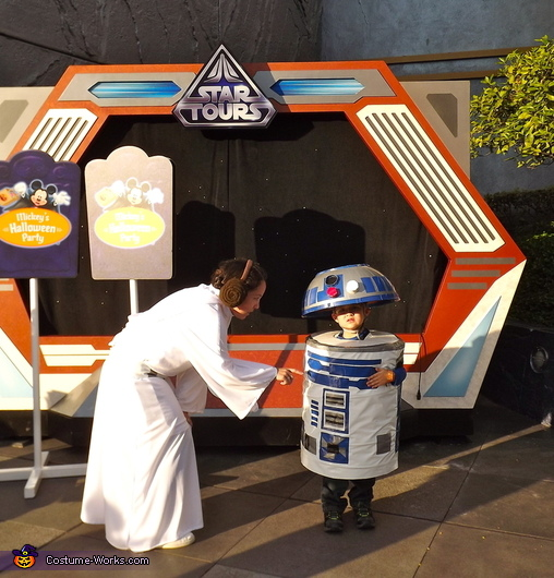 """Help me Obi-Wan Kenobi, you're my only hope"", Princess Leia and R2D2 Costumes"