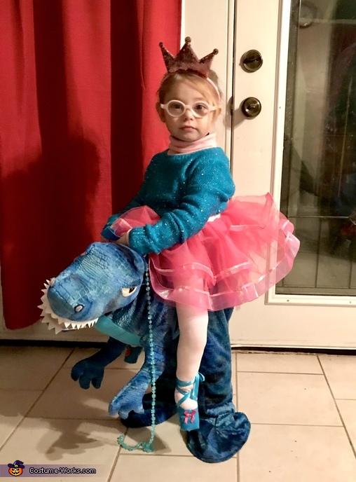 Princess riding a Dinosaur Homemade Costume
