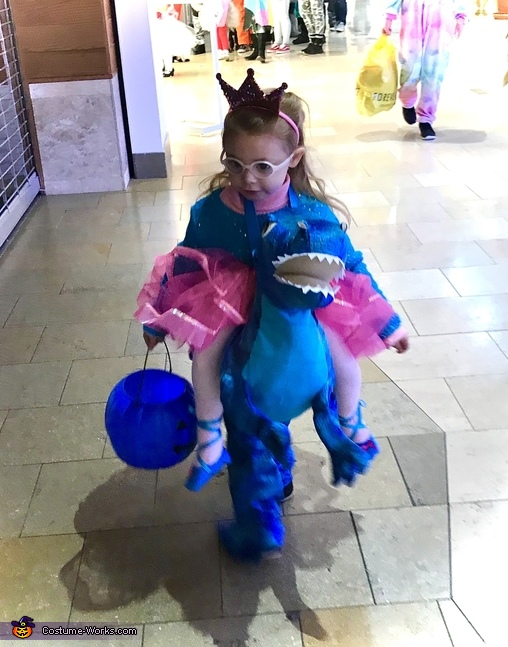 Princess riding a Dinosaur Homemade Costume