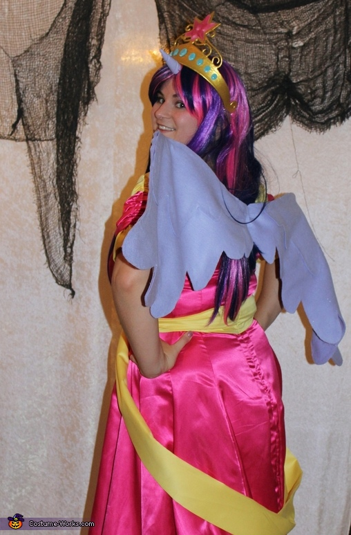 The costume had wings as well but they need a bit more work, Princess Twilight Sparkle Coronation Gown Costume