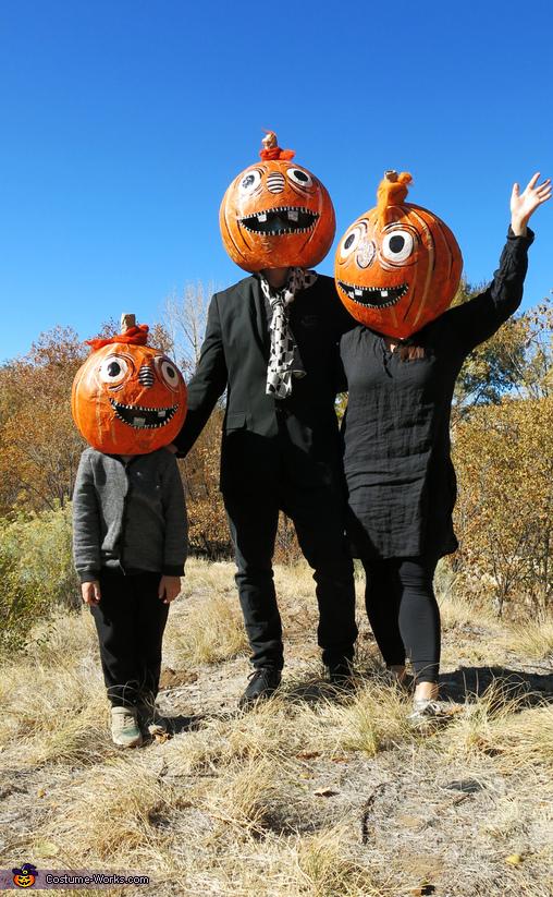 Pumpkin Head Family Homemade Costume