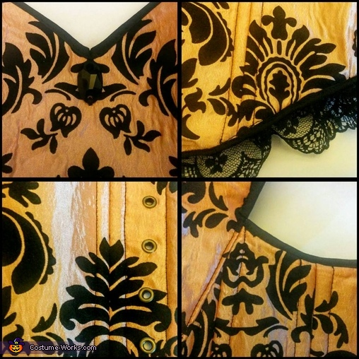 Close up shots of bodice., Pumpkin Queen Costume
