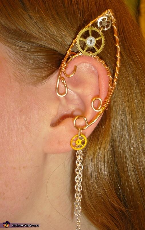 Wire-wrap steampunk elf ears., Pumpkin Queen Costume