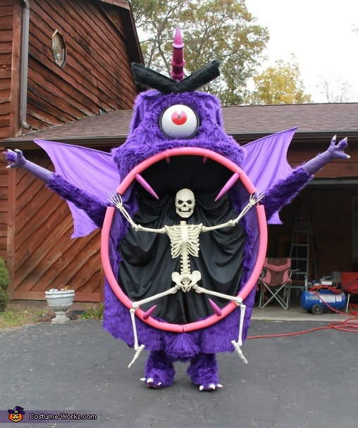 looking back at camera, Purple People Eater Costume