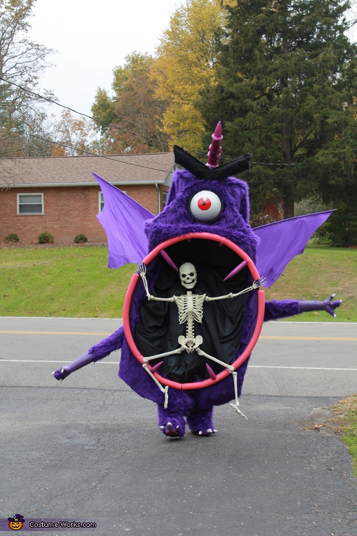 walking demonstrating the monster and skeletons movement, Purple People Eater Costume
