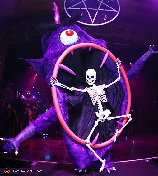 on stage showcasing, Purple People Eater Costume