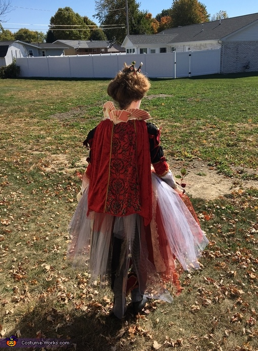 Back of costume showing cape and neck piece , Queen of Hearts Costume
