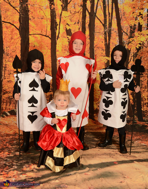 'Off with their heads!', Queen of Hearts and her Card Soldiers Family Costume