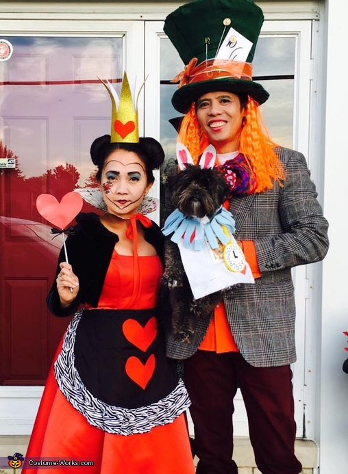 Queen of Hearts, Mad Hatter and White Rabbit Homemade Costume