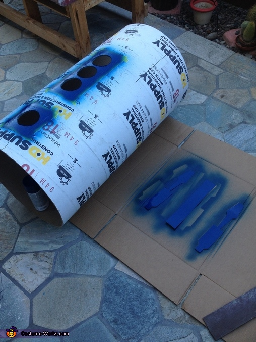 Painted front pattern/ hole cutouts for vents., R2D2 Costume