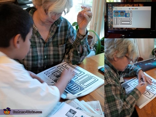 Grandma cuts stencils using templates from the Internet, R2D2 DIY Costume