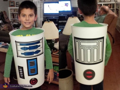 Transparencies painted and attached to the front and back, R2D2 DIY Costume