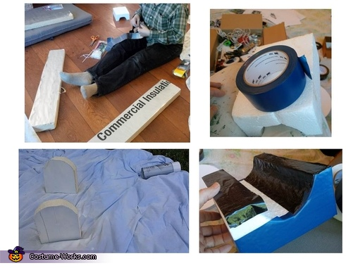 Making the legs and feet with foam insulation and vinyl tape, R2D2 DIY Costume