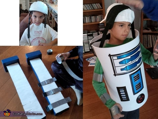 The unused helmet, legs in process and keeping the body up, R2D2 DIY Costume